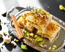Pâtisserie turque aux pistaches dessert baklava aux pistaches vertes