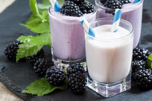 milkshake aux bleuets sauvages et mûres photo
