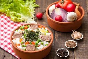 riz avec viande de boeuf et légumes
