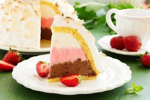 gâteau éponge crème glacée alaska et meringues.