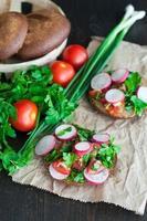 bruschetta aux tomates italiennes avec légumes hachés, herbes et huile photo