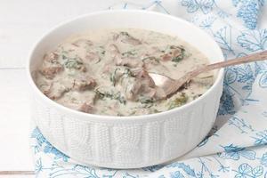 ragoût de veau français dans un bol en porcelaine blanche. blanquette de veau.