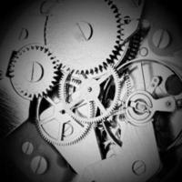 rouage d'horloge avec engrenages et roues dentées photo