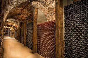 cave à vin, une rangée de bouteilles de champagne photo