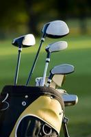 cinq clubs de golf dans un sac de golf sur le parcours de golf photo