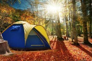 deux tentes dans la forêt d'automne photo