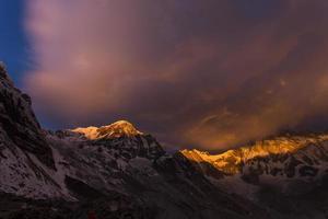 vue, de, annapurna, je, depuis, annapurna, camp de base, himalaya, montagnes photo