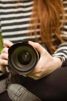 section médiane de la femme photographe