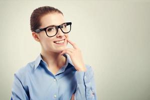 femme affaires, grand, oeil noir, lunettes photo