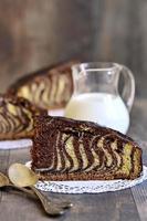 morceau de gâteau '' zèbre ''.