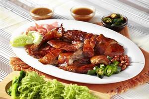 gros plan canard rôti chinois et nouilles vertes