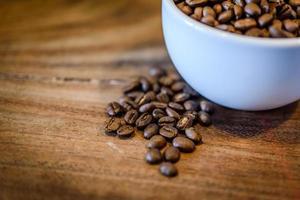 café sur fond de bois grunge