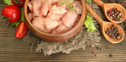 viande de poulet cru dans un bol, sur fond de bois photo