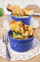 filet de poulet aux brochettes d'ananas photo