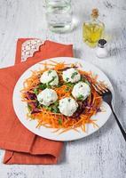 salade de carottes, chou rouge, persil et boule de fromage