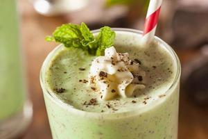 Milk-shake froid rafraîchissant à la menthe et aux pépites de chocolat