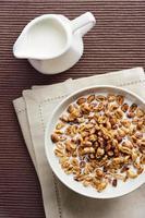 céréales de blé avec du lait - petit déjeuner sain