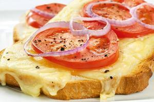 gros plan de fromage grillé et tomate
