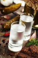 vodka russe avec pain noir traditionnel et cornichons photo