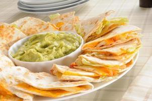 guacamole entouré de quesadillas au fromage sur une plaque blanche