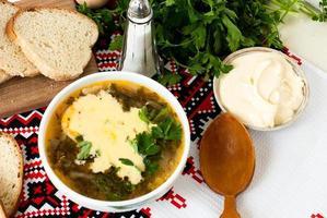 soupe à l'oseille verte avec oeuf en assiette photo
