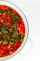 casserole avec bortsch chaud et frais