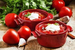soupe aux légumes ukrainienne russe traditionnelle photo