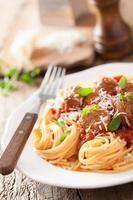 spaghetti aux boulettes de viande à la sauce tomate