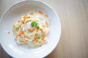 spaghetti à la sauce crémeuse au saumon photo