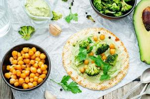 tortilla végétalienne avec brocoli rôti et pois chiches et sauce avocat