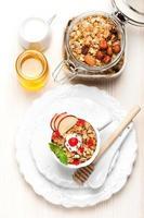 petit déjeuner granola. vue de dessus