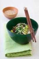 salade de poireaux aux épinards japonais
