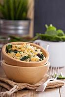 salade de riz, pois chiches, épinards, raisins secs