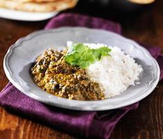 Assiette de curry indien saag paneer photo