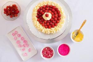 gâteau aux framboises photo