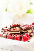 carrés de framboises au chocolat photo