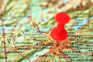 Carte d'Atlanta, Géorgie - États-Unis