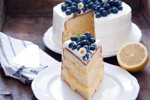 gâteau aux bleuets et au citron photo