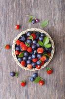 fraise des bois et myrtille photo