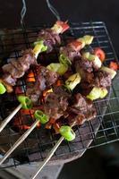griller le chachlik sur la grille du barbecue