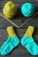chaussettes, bas, hiver, tricot, fait main