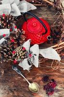 hiver nature morte avec du thé photo