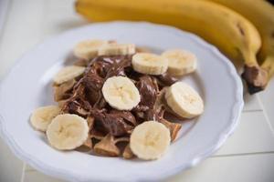 gaufres au chocolat et aux bananes photo