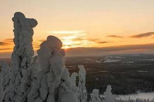 soirée au sommet d'une montagne en Laponie photo