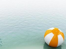Eau bleue 3D avec ballon de plage.