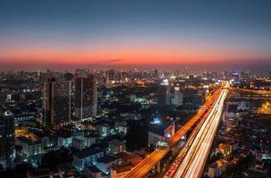 Twilight bangkok city road photo