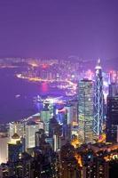 Port de Victoria la nuit, Hong Kong Chine