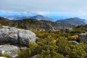 Rocher et paysage au sommet de la montagne de la table, Cape Town