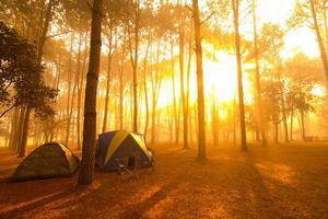 camping au coucher du soleil photo
