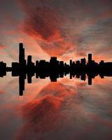 Skyline de Chicago au coucher du soleil